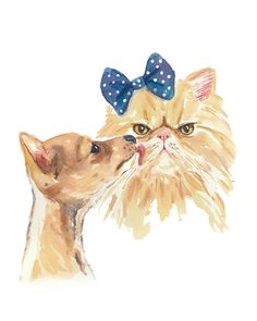 Dog and Cat Watercolor PRINT - 11x14 Painting Print, Grumpy Cat, Romance, Chihuahua