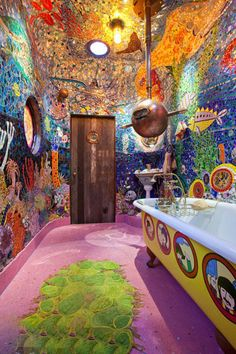 yellow submarine bathroom!  I wouldn't know what to look at.