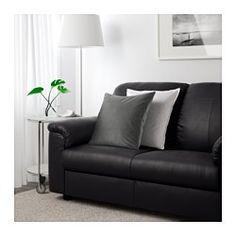 IKEA - TIMSFORS, Canapé d'angle 2+2 places, Mjuk/Kimstad noir, , Zones de contact couvertes de cuir fleur souple teinté dans la masse de 1,2 mm d'épaisseur très moelleux et doux au toucher.Les surfaces externes sont recouvertes d'un tissu résistant doté d'un revêtement qui ressemble au cuir.Accoudoirs avec rembourrage renforcé pour plus de confort quand vous vous y appuyez.Garantie 10 ans. Détails des conditions dans le livret Garantie.