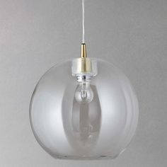 BuyJohn Lewis Gloria Glass Brass Pendant Light, Clear/Brass Online at johnlewis.com