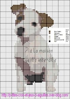 Jack Russell X-stitch pattern Cross Stitch Charts, Cross Stitch Designs, Cross Stitch Patterns, Cross Stitching, Cross Stitch Embroidery, Embroidery Patterns, Perros Jack Russell, Dog Chart, Canvas Designs