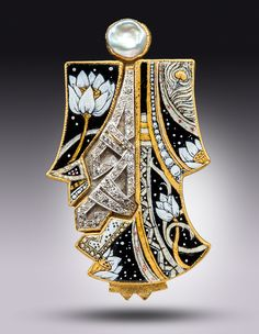 """Kabuki Kachina, stepping softly..."" with antique diamond and platinum as integral to the design."