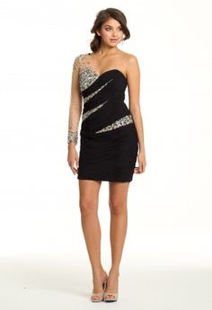 Prom Dresses 2013 - One Shoulder Illusion Sleeve Short Prom Dress from Camille La Vie and Group USA
