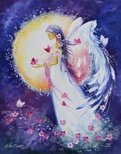 Beautiful Prophetic Art painting. Angel flowers and butterflies, Viola Sado