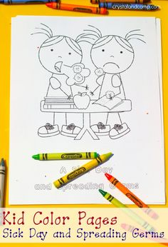 Keeping Healthy Week-kid color pages sick day and spreading germs Coloring For Kids, Coloring Pages For Kids, Colouring, Learning Activities, Activities For Kids, Preschool Ideas, Preschool Lessons, Winter Activities, Preschool Crafts