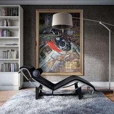 Zuo Moderns Blazar Floor Lamp with Le Corbusier La Chaise bring an industrial chic element to any contemporary residential or commercial space.