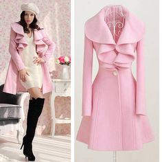 Women Girl Pink Black Trench Coat Jacket Parka Fashion Slim Fit Outerwear Timein | eBay