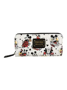 Loungefly Disney Mickey & Minnie Mouse Tattoo Zip WalletLoungefly Disney Mickey & Minnie Mouse Tattoo Zip Wallet,