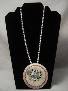 Massive Vintage Zuni Eagle Dancer Turquoise Coral Necklace