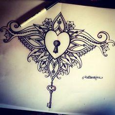 Locked heart sternum tattoo design More