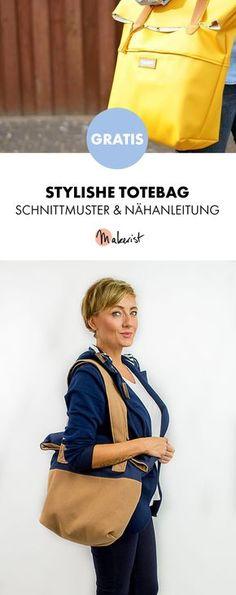 Gratis Anleitung: Tasche Totebag nähen - Schnittmuster und Nähanleitung via Makerist.de