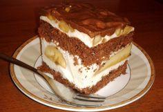 Ciasto bananowe z lekkim kremem jogurtowym i czekoladą