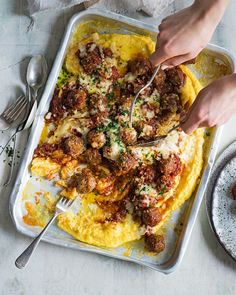 Mix up your meatball game with the late food writer Valli Little's baked smoky meatballs served on a bed of cheesy polenta Meatball Recipes, Beef Recipes, Cooking Recipes, Savoury Recipes, Polenta Recipes, Grill Recipes, Healthy Recipes, Gourmet Recipes, Delicious Magazine