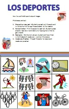 Spanish Sports Vocabulary Game Cards & Flashcards - Los Deportes by Sue Summers