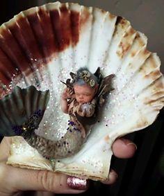 OOAK polymer CLAY STEAMPUNK baby MERMAID sculpture!