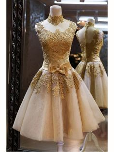 GOLD HIGH NECK BOWKNOT EMBELLISHED HIGH NECK SHORT LACE PROM DRESS 2016