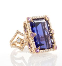 18k gold and diamond tanzanite Coco ring by Erica Courtney®