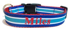 Blue Stripes Dog Collar Personalized by TheMonogrammedMutt on Etsy, $28.00