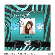 Sweet 16 Sweet Sixteen Teal Black Zebra Photo Card Sweet 16 Sweet Sixteen Teal Blue Black Zebra Animal Print Silver Photo 16th Birthday Party Invitations All Occasion Invite Add Photo invitation All Occasions birthday invites