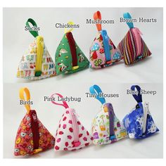 Tiny triangle pyramid bag, great for Stitch markers, iPad head phones, earphones or little coin purse, gift bag, Your choice of fabric