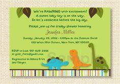 Dinosaur Baby Shower Invitation EDITABLE by LittlePrintsParties, $10.00