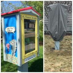 "Sarah Egge. Normal, IL. I am a reading teacher in an elementary school and I've always wanted to be a librarian! My Little Library has a combination of glass tile mosaic designs and wooden cutouts that are designed to look like children's book characters. I fashioned an ""open book"" roof after a photo I found when Googling Little Free Library ideas."