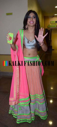 Kritika Kamra in lehenga done in neon shades designed by Rajat Tangi at the Peace walk ramp show at Welingkar College Indian Look, Indian Ethnic Wear, Indian Girls, Indian Fashion Trends, Asian Fashion, Indian Dresses, Indian Outfits, Kritika Kamra, Psychedelic Fashion