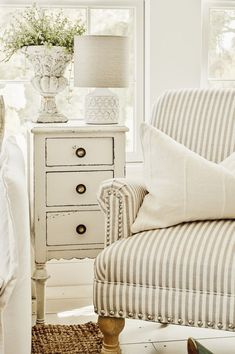 neutral home decor I love the ticking stripe on this chair. Add charm to an already charming neutral decor Casas Shabby Chic, Decoration Ikea, White Cottage, Cottage Style, Cottage Chic, Country Cottage Bedroom, French Cottage, Shabby Cottage, French Country Decorating