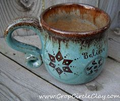 BELIEVE Crop Circle Coffee Mug  Wheel Thrown Pottery by CropCircleClay,