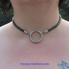 BDSM submissive O ring day collar- 6mm black only 1 O ring- Lobster claw clasp N004. $30.00, via Etsy. (TonyasCollars)