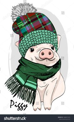 Vector pig with knitted hat and scarf. Hand drawn illustration of dressed piggy. Christmas Ale, Christmas Colors, Stitch Games, New Year Diy, Pig Crafts, Christmas Tumblers, Pig Drawing, Watercolor Kit, Pig Art