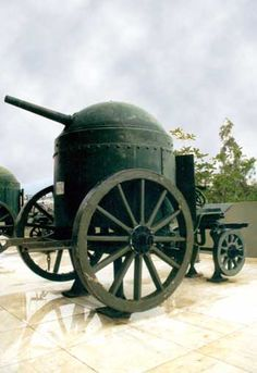 Fahrpanzer. Imperial Germany era armoured mobile artillery gun.