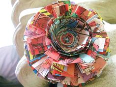 Colourful Comic Book Flower Brooch by whatanovelidea on etsy