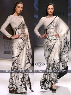 #Silk #Printed Off #White & #Black #Bollywood #Designer #Saree #28% #Only Rs 1449 #sarees#saris#indianclothes#womenwear #ethnicwear #fashion #Bollywood  #indiandesigners