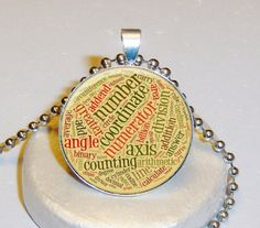 Math Words Necklace $5.00 - Personalized With Your Image $10.00 at www.pifs.etsy.com