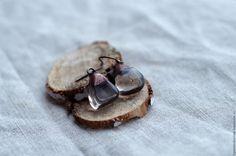"""Купить Серьги """"Темный лед"""" из раухтопаза - разноцветный, медь, патинированная медь, кристалл, хрусталь"""