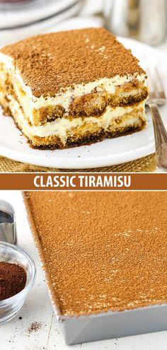Easy Classic Tiramisu Recipe – How to Make the Best Tiramisu! This classic tiramisu recipe is SO GOOD. A creamy dessert of espresso-soaked ladyfingers, it's an elegant, easy and delicious Italian dessert you must try! Classic Tiramisu Recipe, Easy Tiramisu Recipe, Classic Recipe, Authentic Italian Tiramisu Recipe, Homemade Tiramisu, Italian Crockpot Recipes, Vegetarian Italian Recipes, Desserts Panna Cotta, Köstliche Desserts