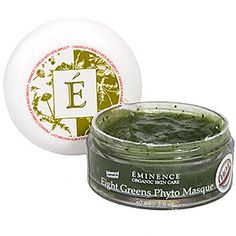 Eight Greens Phyto Masque - HOT (2fl oz.) by Eminence / Price: $54.00  An extra-nourishing mask that stimulates repair in mature, fatigued and blemished skin.  What it's used for: This intensely revitalizing mask nourishes the skin with a blend of vitamins, nutrients and antioxidants that moisturize and help to restore balance to many skin conditions, including dehydrated, fatigued, mature, menopausal, oily, blemished and acneic skin.