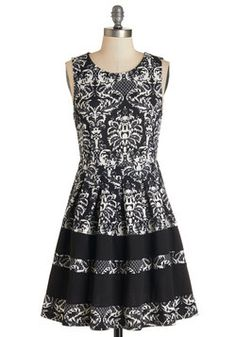 Time Allowing Dress. Your evenings agenda has you headed here, there, and everywhere, but if you can manage to make an appearance anywhere else in this black and white damask dress, you sure will.  #modcloth