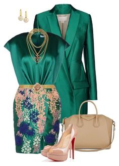 A fashion look from November 2014 featuring green cocktail dress, tweed blazer and peep toe pumps. Browse and shop related looks. Modest Fashion, Women's Fashion Dresses, Girl Fashion, Fashion Looks, Womens Fashion, Fashion Trends, Fashion Beauty, Classy Outfits, Stylish Outfits