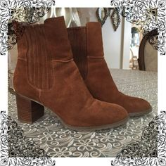 "Circa Joan & David Adine A gorgeous pull on short boot on a chunky 2"" heel. Cognac suede size 10. Perfect condition Joan & David Shoes Ankle Boots & Booties"