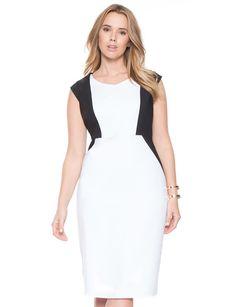 черно-белое короткое коктейльное платье футляр для полных 2015