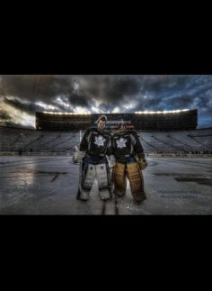 Reimer & Bernier at the Winter Classic. (Photo by Dave Sandford) Amazing photo. Goalie Gear, Hockey Goalie, Hockey Games, Hockey Players, Boston Bruins Goalies, James Reimer, Toronto Maple Leafs, World Of Sports, Nhl
