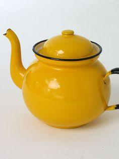 Bright yellow 1970s enamel kettle.