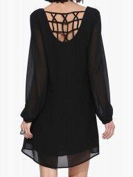 Black Lace Hem Trumpet Sleeve Dress | Choies