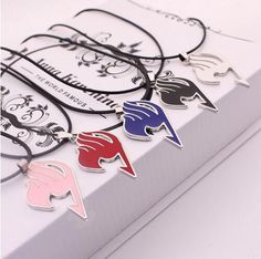 free shipping Star Jewelry Fairy Tail Union flag Zinc Alloy rope chain necklace trendy metal red blue black pink Silver #3126 P1