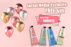 Social media exclusive! Get 2 FREE Crabtree & Evelyn Hand Creams (25ml each) valued at HKD$110! Use promo code [ SOBERRY ] at checkout to get it! Plus, new customers get free shipping on all orders! *Offer ends 30 Sep 2019 | Free gift while stocks last | Not applicable to Taiwan, Turkey orders  Follow us on IG: strawberrynetofficial #strawberrynet #JetSo #handcream #freegift #fansoffer Discount Perfume, Hand Creams, Beauty Sale, Discount Beauty, Cologne, Taiwan, Free Gifts, Hair Care, Turkey