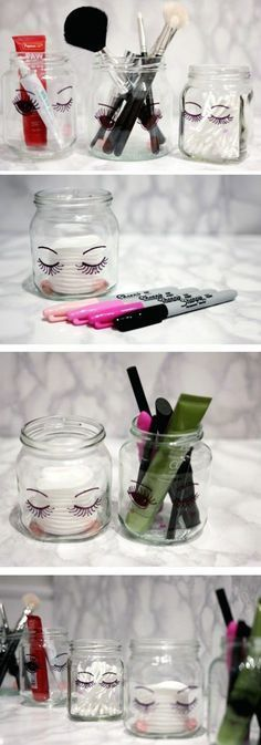 DIY MAKEUP CRAFTS DIY Sharpie Make Up Storage Jars. These sharpie jars look super cute in their simplicity when place in your bathroom or vanity. Super easy, fun and quick to make in several minutes. Diy Makeup Organizer, Diy Makeup Storage, Make Up Storage, Diy Storage, Makeup Organization, Storage Ideas, Storage Jars, Storage Organizers, Bathroom Organization