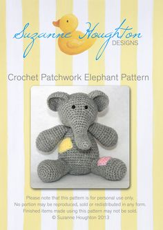 Image of Crochet Patchwork Elephant Pattern-digital download