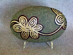 Unique 3 D Art Object, Hand Painted Rock, Signed Numbered Art, Gold Floral Design, Home Office Decor, Gift for Him or Her, by IshiGallery, $150.00